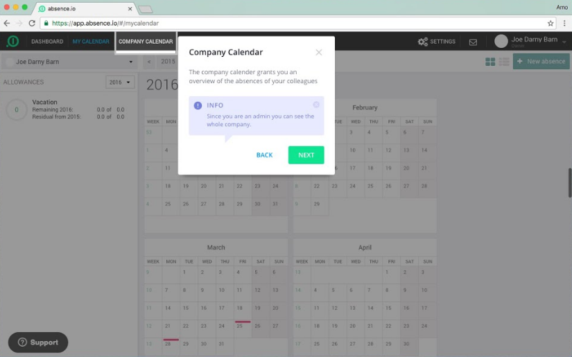 userlane software wizard on absence.io