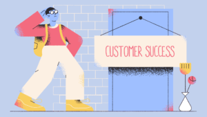 illustration of man and door with customer success sign