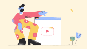 illustration of a man standing next to webpage with video play button on the screen