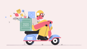 illustration of man riding scooter with a box saying 2020 on it
