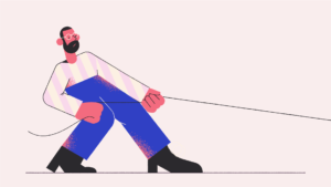 illustration of man tugging on rope