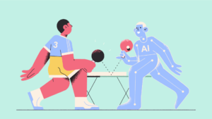 illustration of a man and robot playing ping pong with robot representing AI