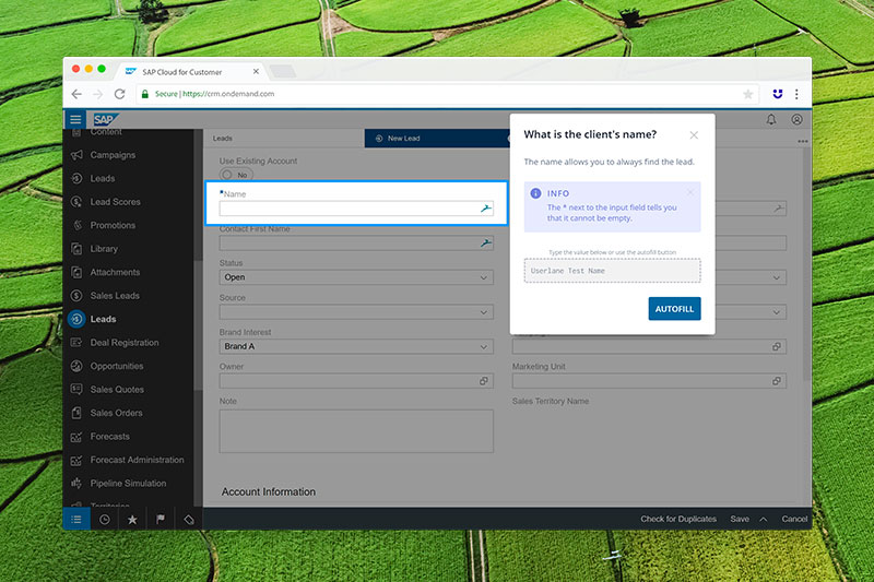 Screenshot of Userlane the Electronic PErformance Support System