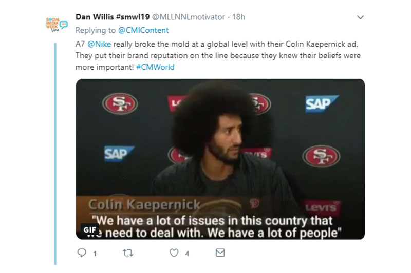 screenshot of tweet about Nike showing empathy towards consumers