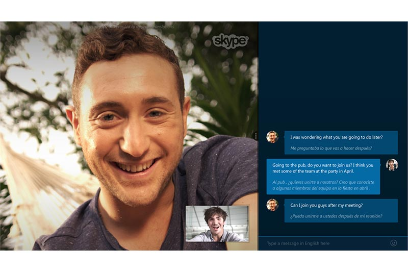 screenshot showing a video call of project management tool skype