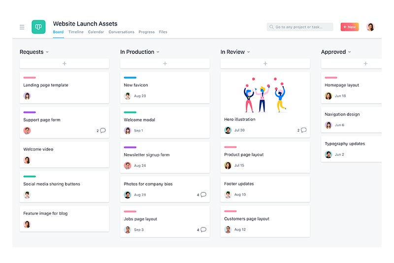 screenshot showing how project management tool asana works