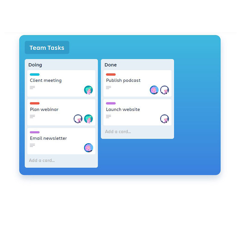 image showing task board of project management tool trello