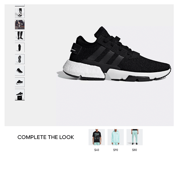 adidas' complete the look campaign showing a black and white adidas shoe with outfit suggestions