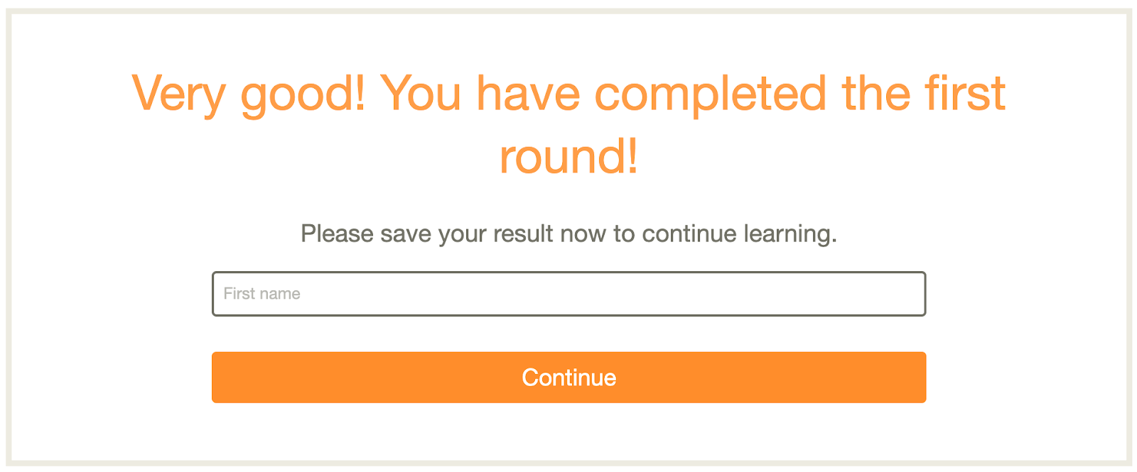 screenshot of babbel showing completion of first round of learning to use the app