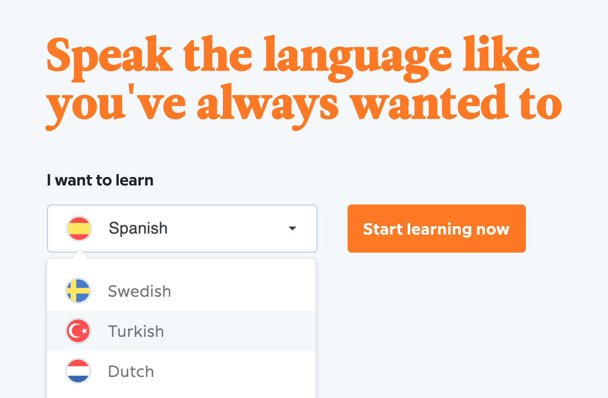 screenshot of babbel intro page