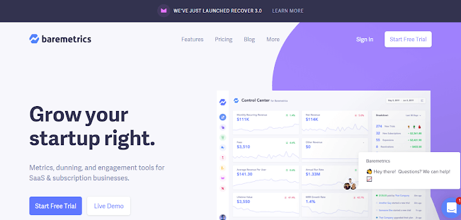 baremetrics homepage example for product managers