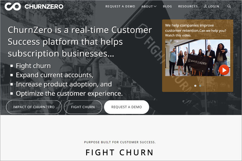 screenshot of one of ChurnZero's web pages