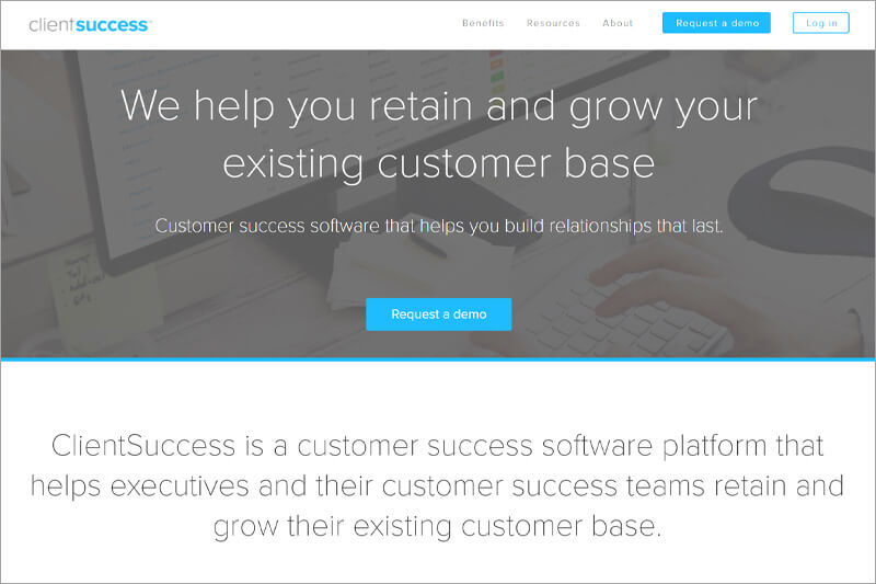 screenshot of one of clientsuccess' web pages