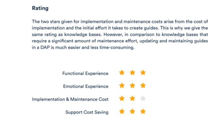 Text from Userlane's white paper on cutting customer service costs showing the rating for a digital adoption platform in terms of experience, cost of implementation and maintenance, and support cost saving.