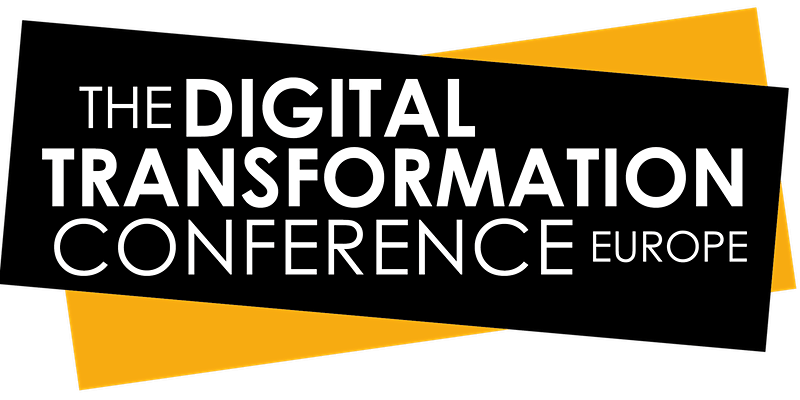 The Digital Transformation Conference Europe banner in black and yellow.