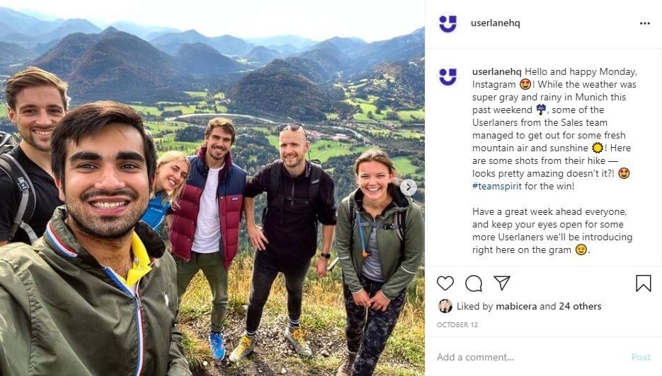 Instagram post of Userlane's sales team on a hike in the Bavarian alps.
