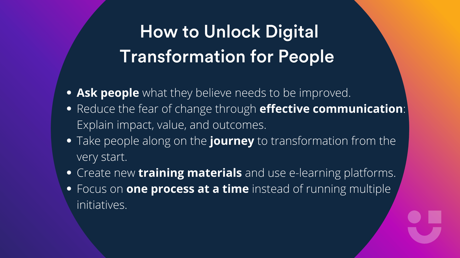 key takeaways on how to unlock digital transformation for people written in white on a navy blue background