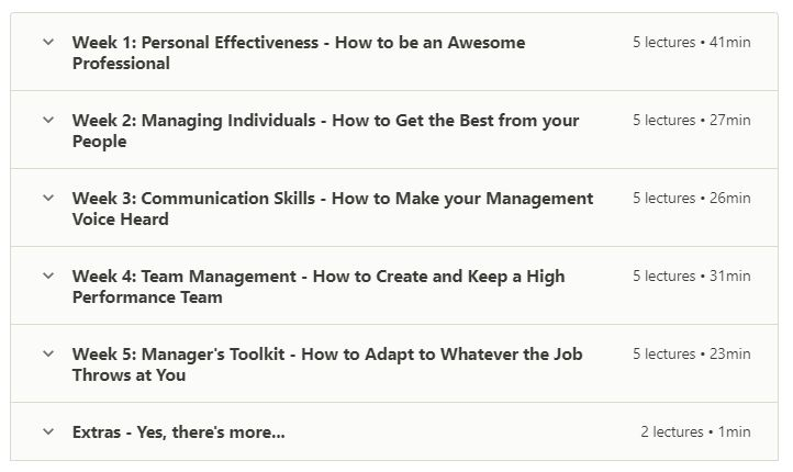online product management course outline of new manager's 5-week success system offered on udemy, an MOOC platform