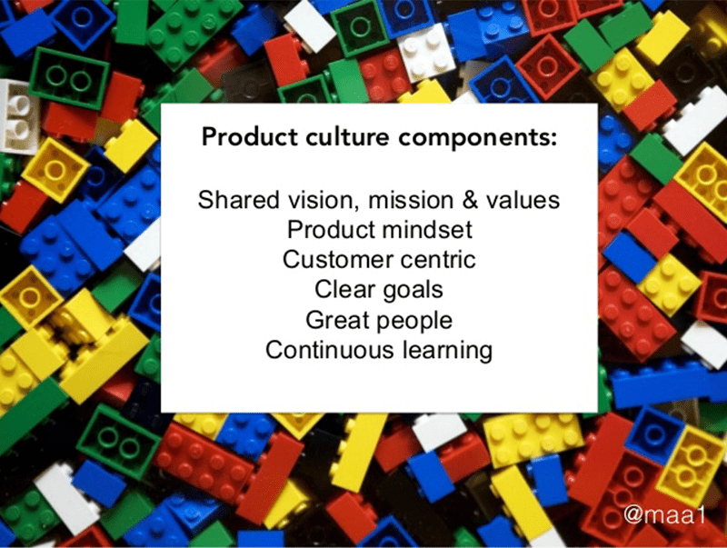 slide with background of legos discussing components of product culture