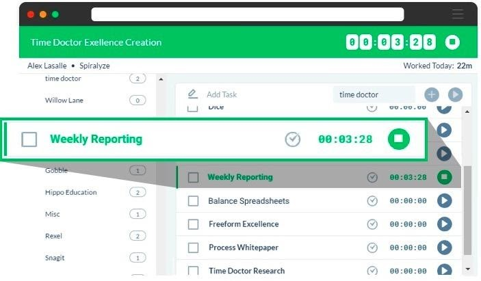 Weekly reporting feature of time doctor time management app