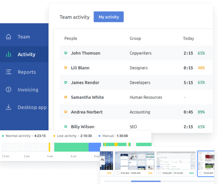 time-tracking software Traqq showing team activity for different employees