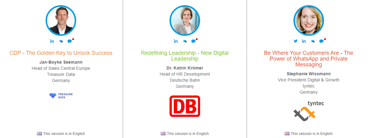 Speaker photos and the topics they'll be presenting on at the digital transformation event, World Class Digital Transformation and Innovation 2021. The speakers are from left to right: Jan-Boyke Seeman, Dr Katrin Kroemer, and Stephanie Wissmann.