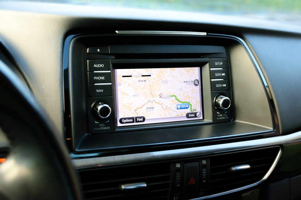gps embedded in the dashboard of a car