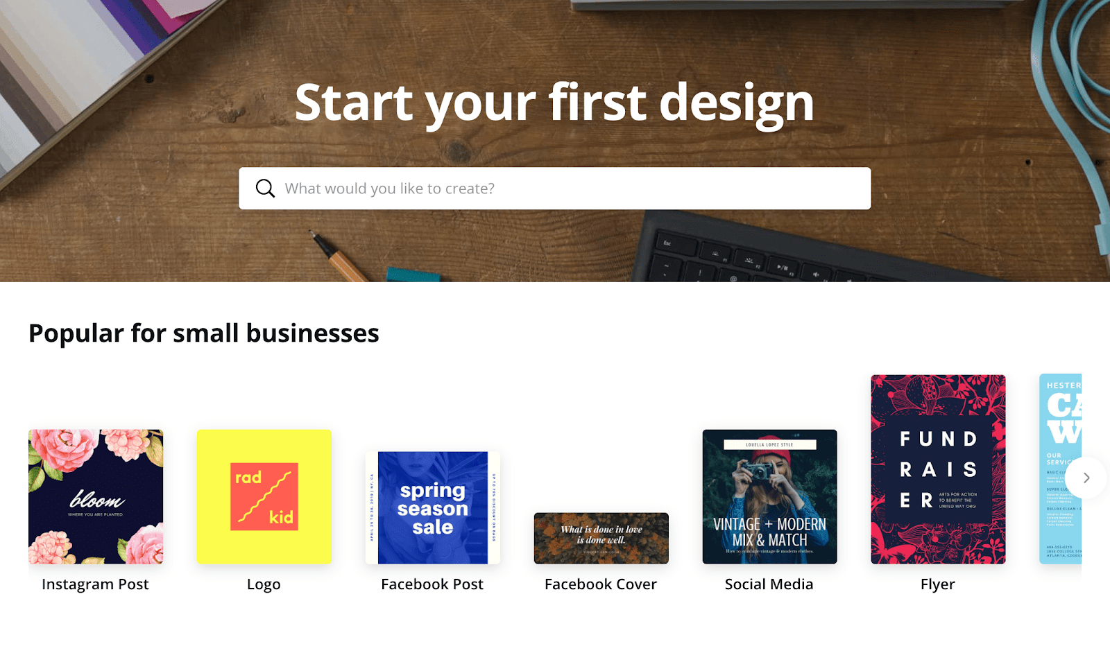 screenshot of canva asking users to start first design