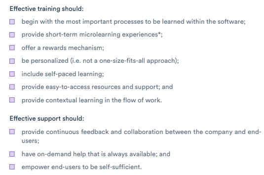 checklist for effective software training and support