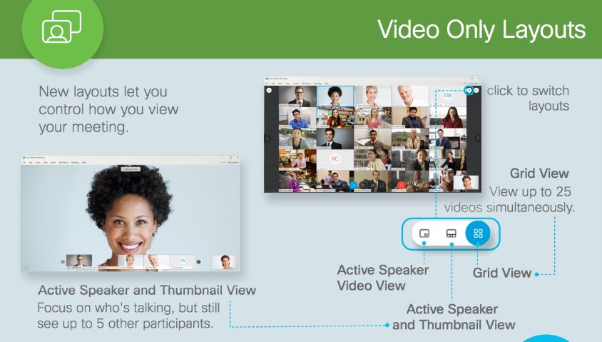 cisco webex showing video-only layouts
