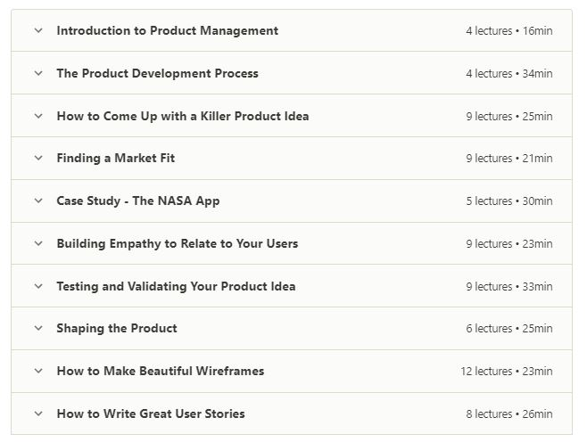 online product management course outline of the complete project management course on udemy