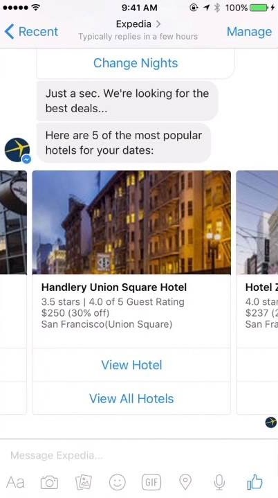 expedia phone screenshot showing how the app works with a suggestion for handlery union square hotel