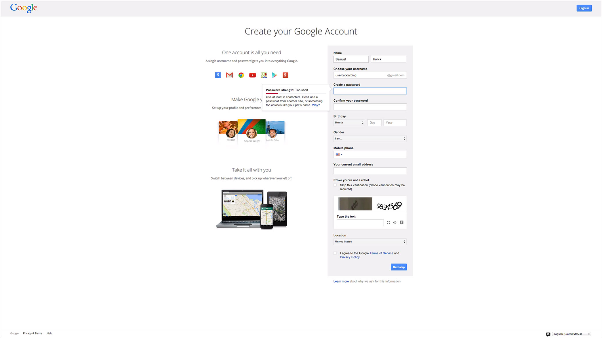 user onboarding process gmail