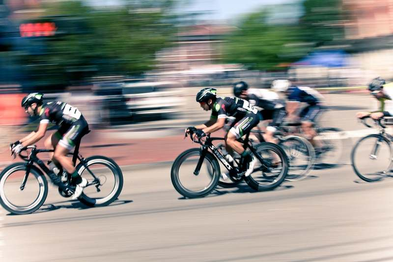 professional cyclists in a race