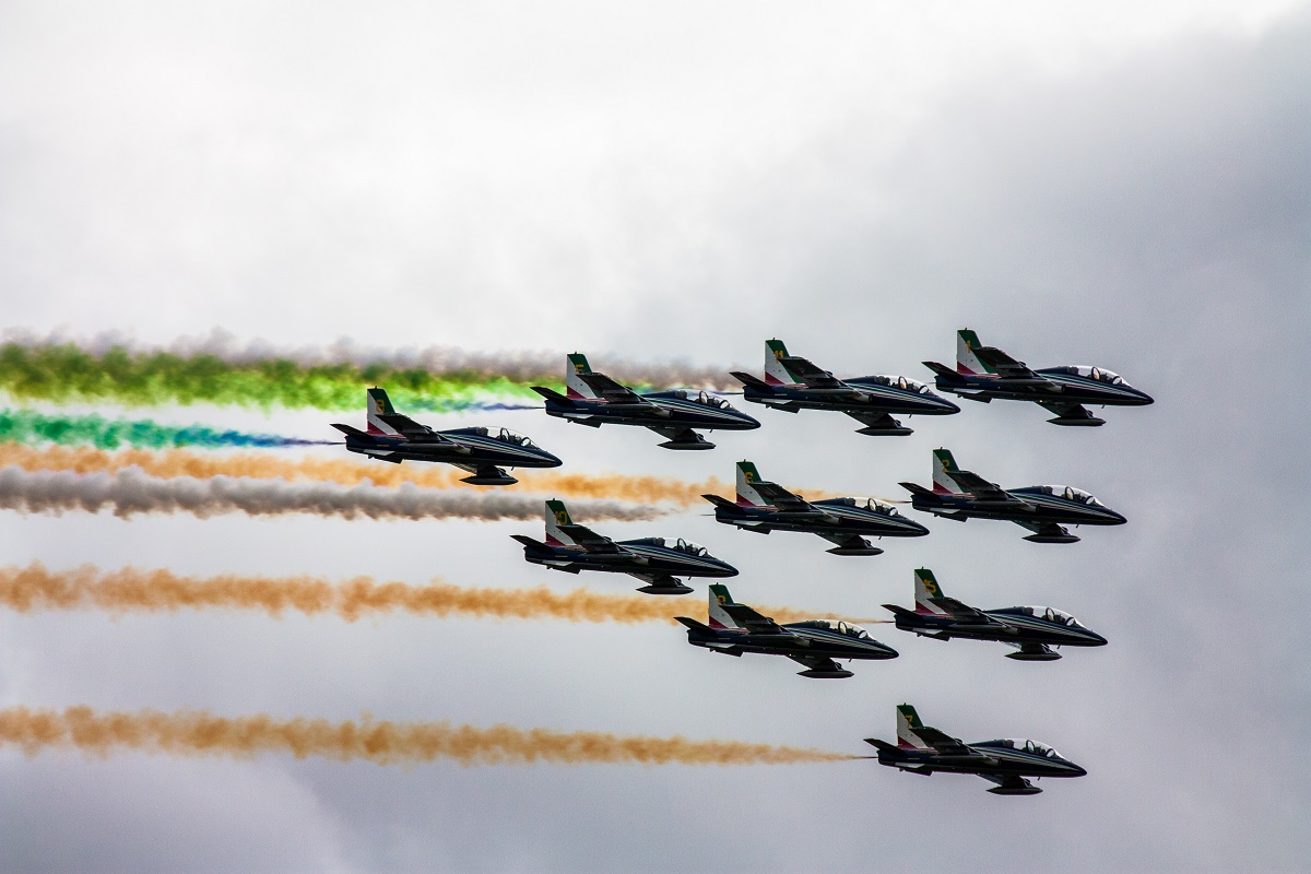 Fighter jets with colourful smoke