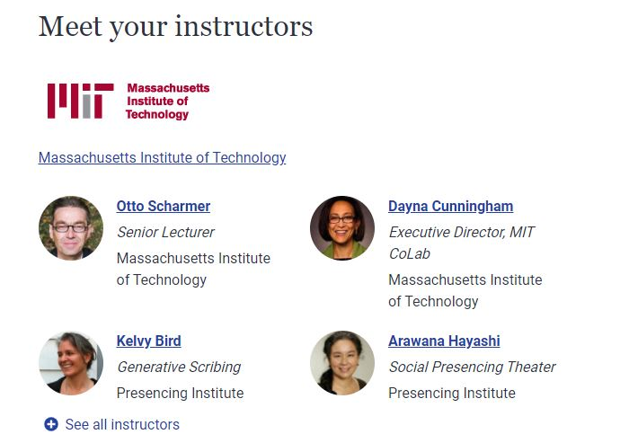 MIT instructors of the u.lab: leading from the emerging future online product management course offered on edX