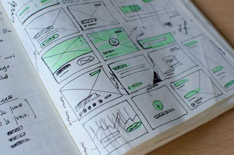 sketchbook containing a wireframe for a user-friendly interface