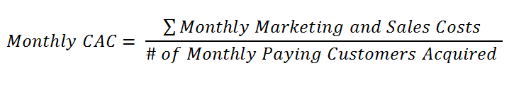 Formula to calculate monthly CAC