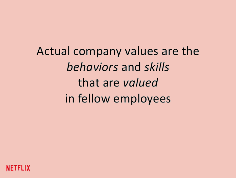 netix slide explaining company values