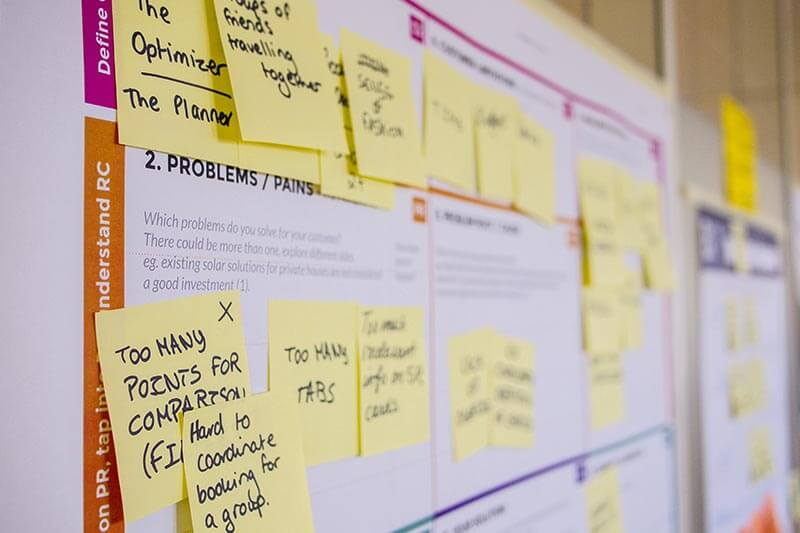 project management and sticky notes on a wall