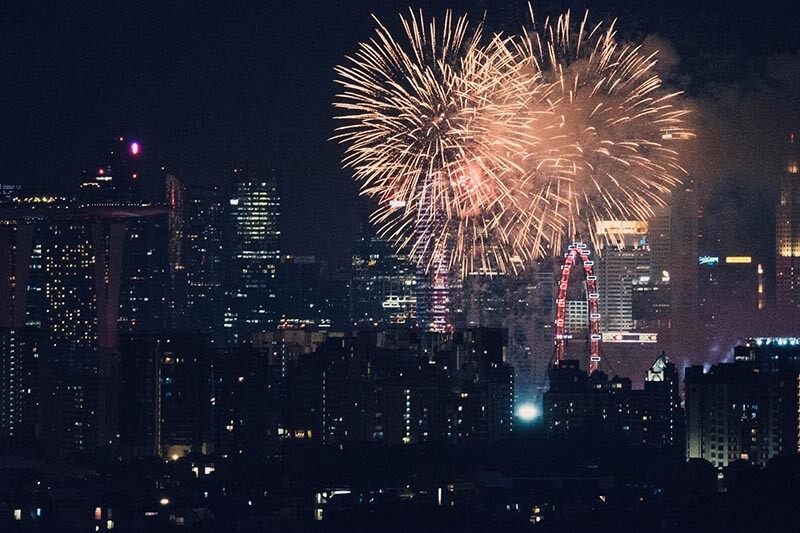 firework in a city