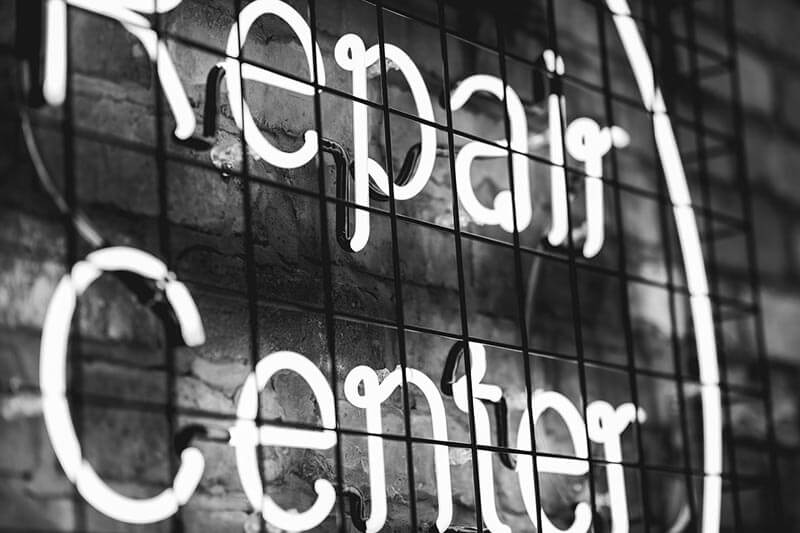 Repair center sign for customer services