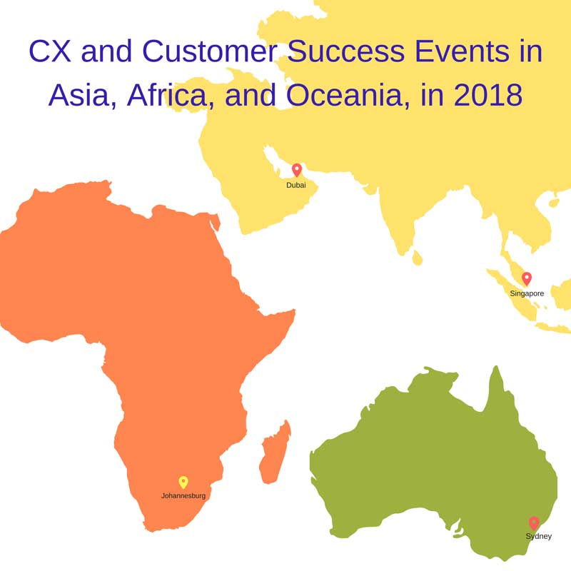 Customer Experience and Customer Success Events in Asia, Africa, and Oceania, in 2018