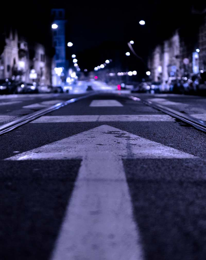 road markings at night