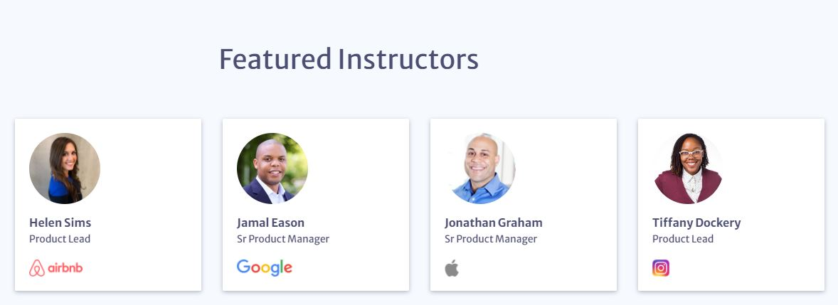 product school's featured instructors from airbnb, google, apple, and instagram for their online product management courses