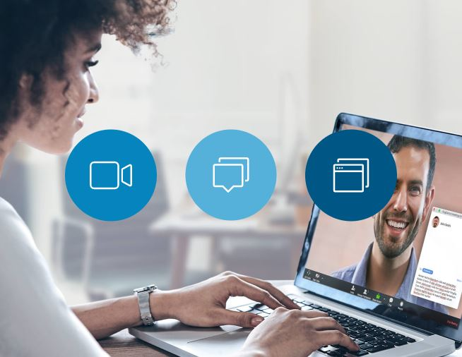 woman working on laptop having a video call with ringcentral meetings