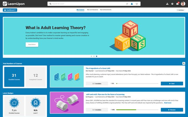 screenshot of learnupon lms showing content layout