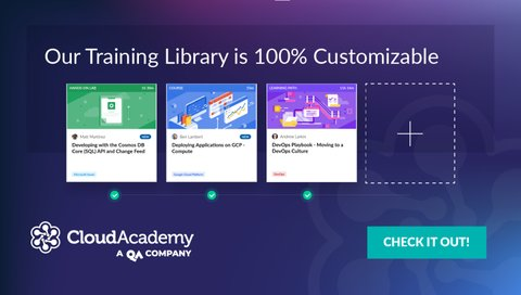 screenshot of cloud academy showing training library
