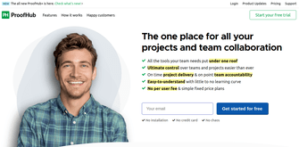 home page of proofhub, a project management tool