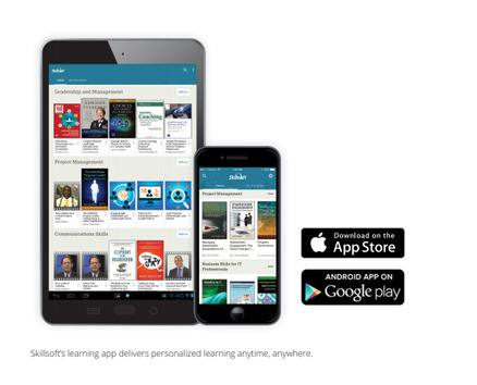 skillsoft lms shown on smartphone and tablet